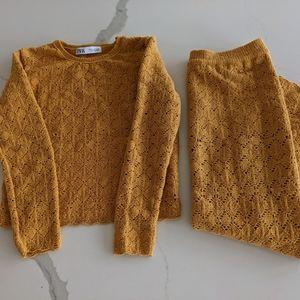 Zara knit crochet top and skirt, mustard,in small